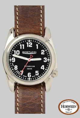 A- 2t Original Classic Lithium - Onyx Black Gloss - Horween Nut Brown Band