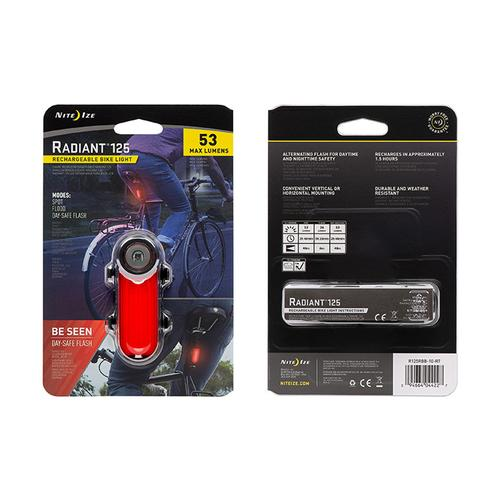 Radiant 125 Rechargeable Bike Light - Red