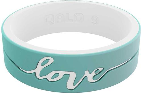 Women's Strata Mint And White Love Silicone Ring