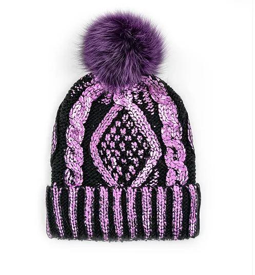 Women's Metallic Knitted Hat With Fox Pom