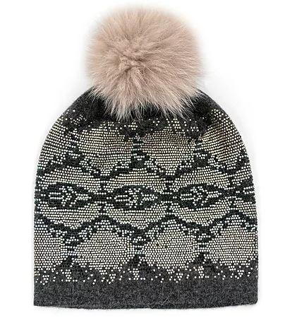 Women's Snake Print Knitted Hat With Fox Pom