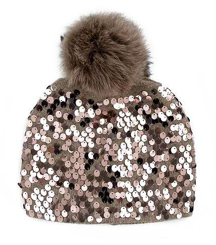 Women's Sequined Knit Beanie With Fox Fur Pom