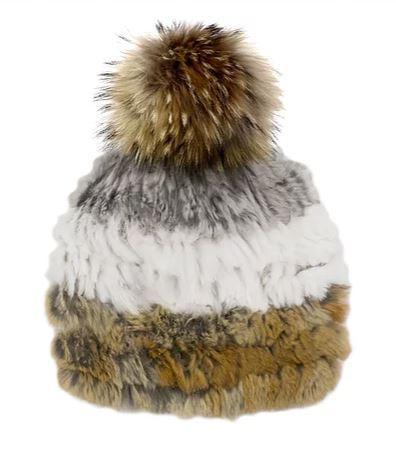 Women's Knitted Rabbit Fur Three Tone Beanie With Fur Pom