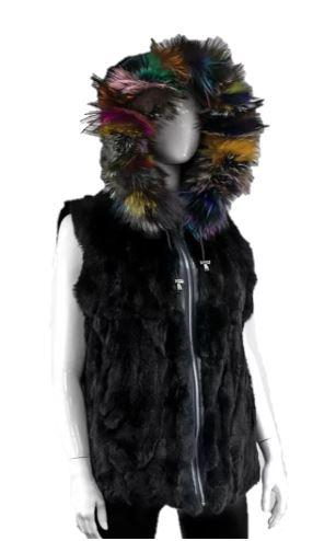Women's Reversible Nylon And Rabbit Fur Vest With Fox Fur Trimmed Hood