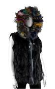 Women's Reversible Nylon and Rabbit Fur Vest With Fox Fur Trimmed Hood