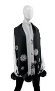Women's Woven Snowflake Scarf with Fox Fur Poms