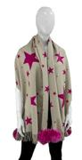 Women's Cashmere Blend Woven Star Scarf with Fox Fur Poms