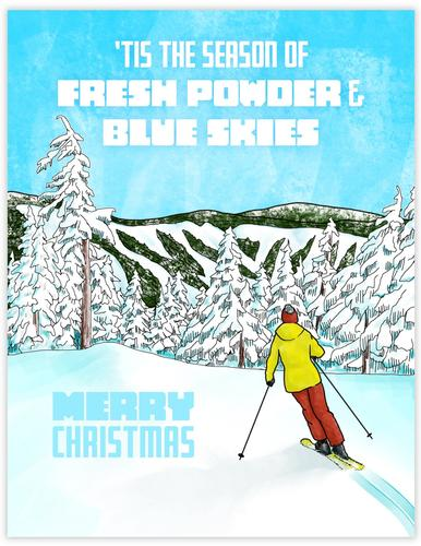Alpine Ski Christmas Card