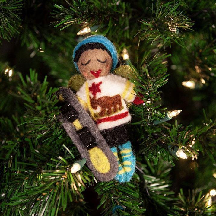 California Snowboard Fairy Ornament