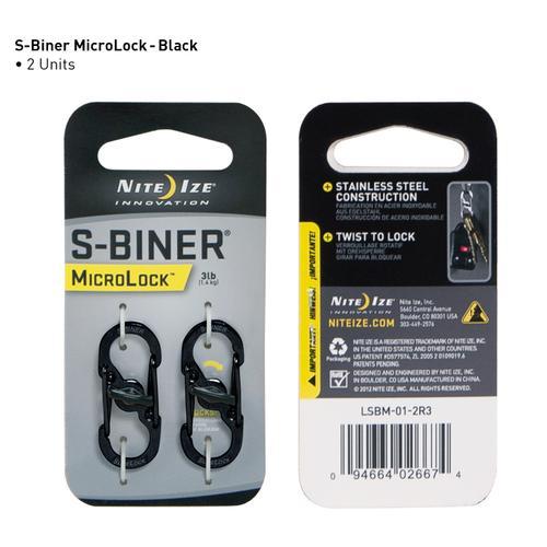 Nite Ize S- Biner Microlock - Black (2 Pack)